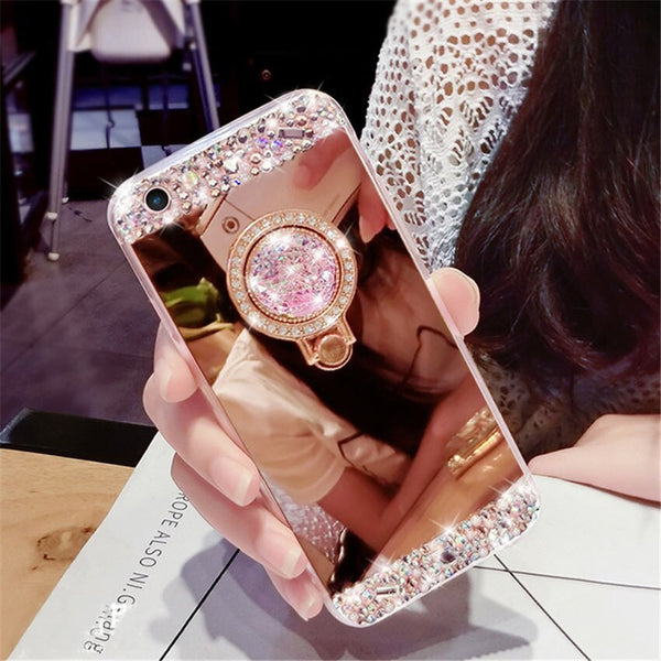 Crystal Rhinestone Bling Diamond Glitter Mirror Case For Samsung.