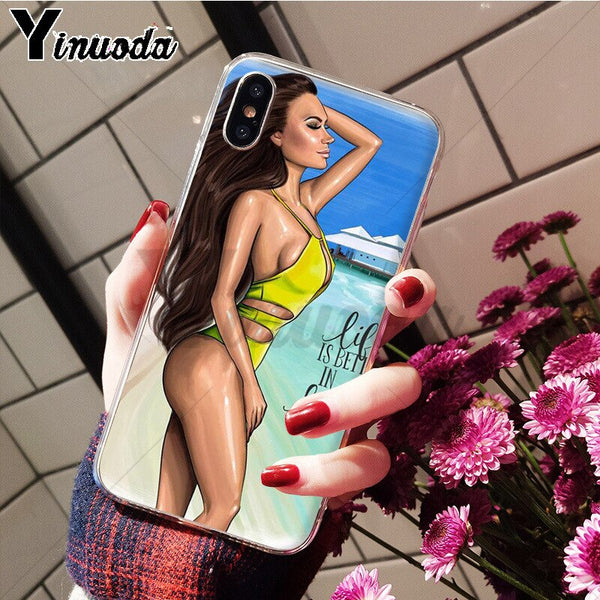 Princess Girl Beach Soft Silicone Phone Case Cover for iPhone.