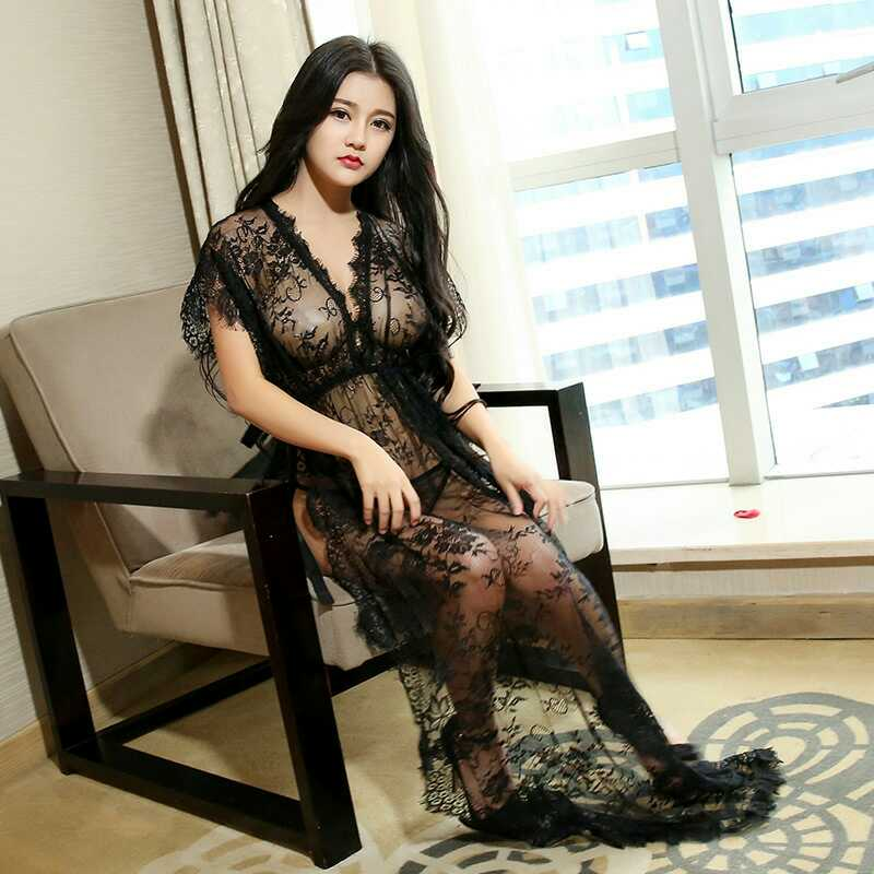 Women Sexy V Neck Lace Nightdress solid color large fashion sexy high fork long nightdress home service JW231