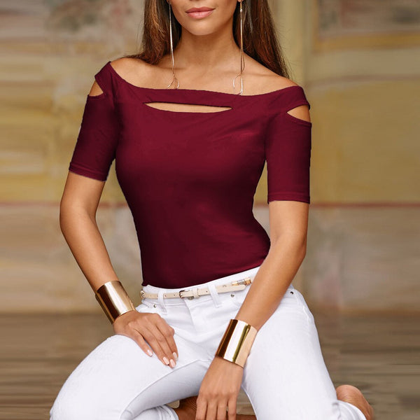 Women Fashion Polyester Broadcloth Daily Casual Cold Shoulder Tops Slash Neck Short Sleeve T Shirt Tee