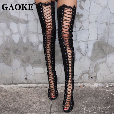 High Women Thigh High Boots Gladiator Shoes Woman Boots Lace Up Peep Toe Shoes