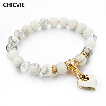 White Natural Stone Bracelet For Women Pulseiras Boho Jewelry friendship Bangle