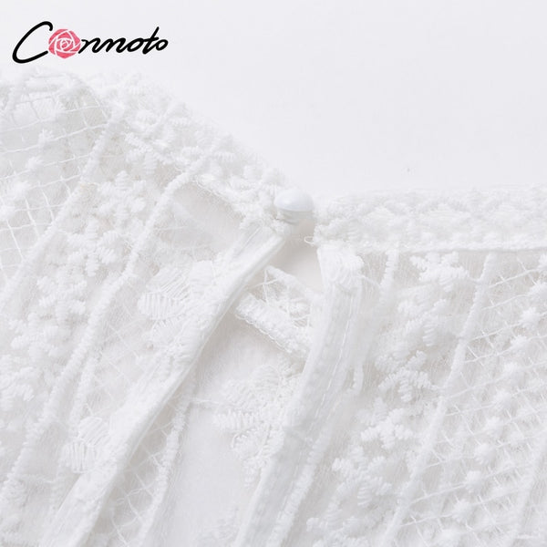 Conmoto Elegant Casual Vintage Dress Women Transparent Christmas Party Dresses Mini White Lace Dress Vestidos Plus Size