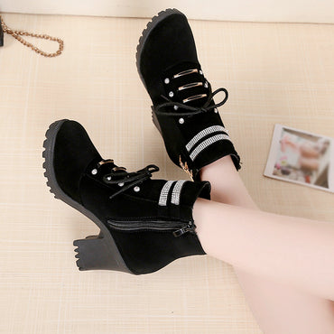 Women High Heel Shoes Martain Boot Leather Zipper Solid Color Round Toe Shoes High Heels Ankle Boots