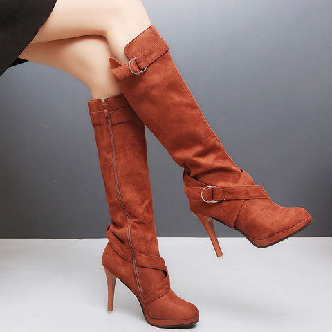 Women Ladies Shoes Buckle Roman Platform High Heels Knee Boots Martin Long Boots for dropshipping 20180823
