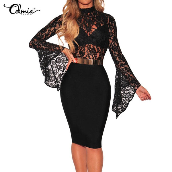 Sexy Bodysuits Celmia Women Sheer Floral Lace Bodysuit Bell Sleeve Turtleneck Long Sleeve Body Mujer Jumpsuit Combinaison Femme
