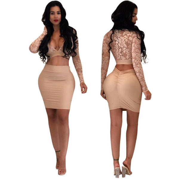 Women Long Sleeves Dress Bodycon Evening Party Cocktail Dress Lace V-Neck Long Sleeves Crop Top+Mini Skirt 2Pcs Set
