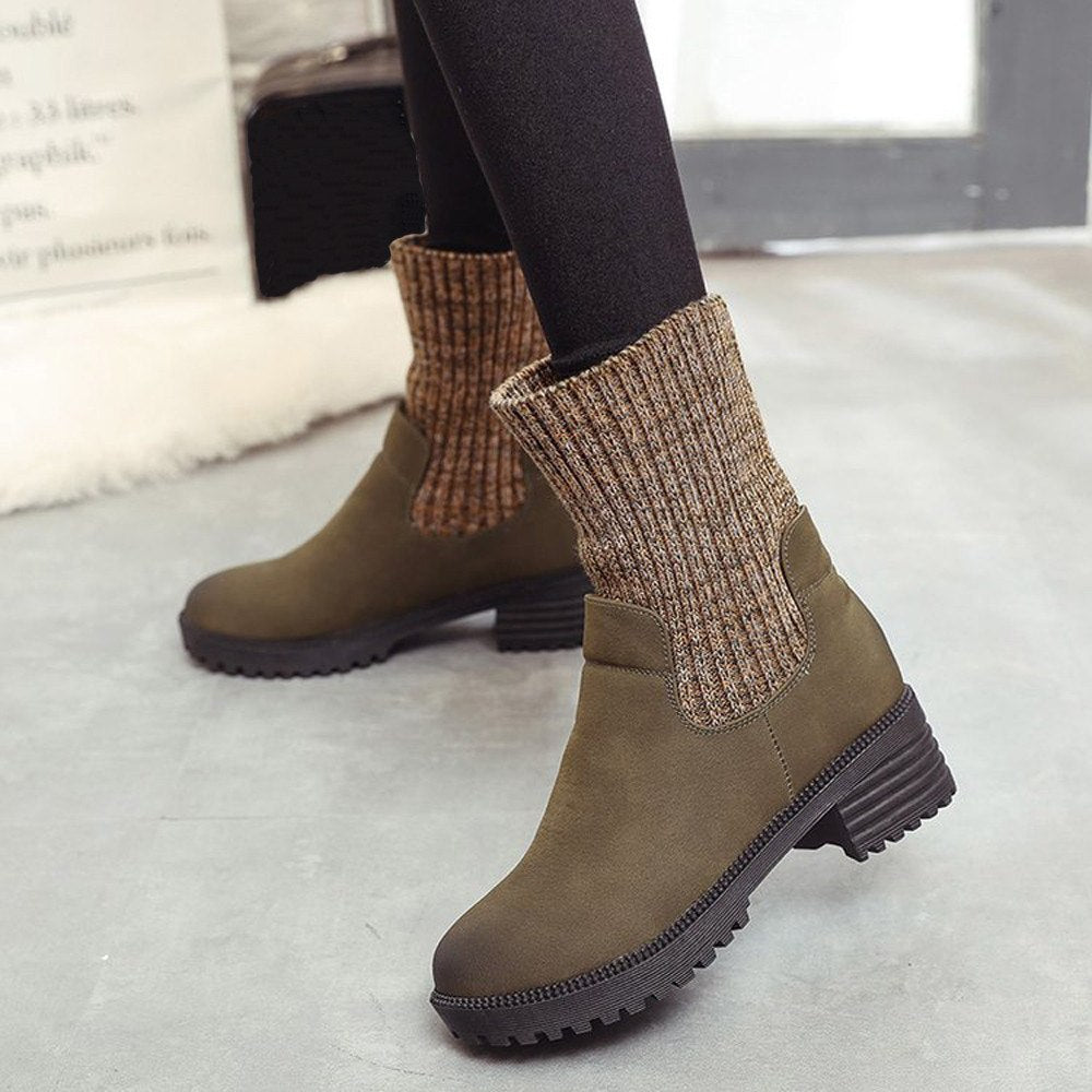 Heel Shoes Boot PU Leather Keep Warm Round Toe Slip-On Ankle