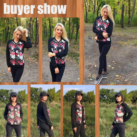 Floral Print Jacket Zipper Long Sleeve Baseball Jacket female Streetwear Plus Size 3XL 5XL