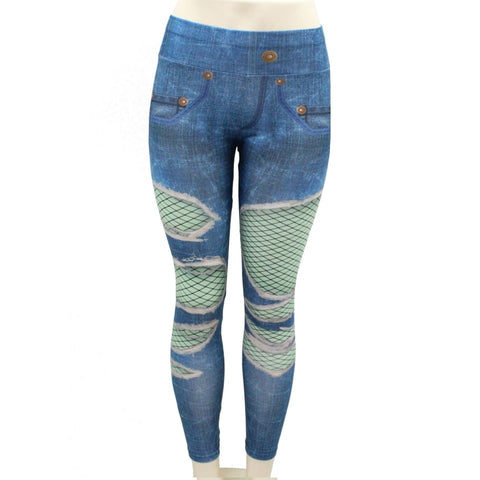 Push up leggings Jeans Sexy Hole Pocket Printing Leggings High waist Casual pants