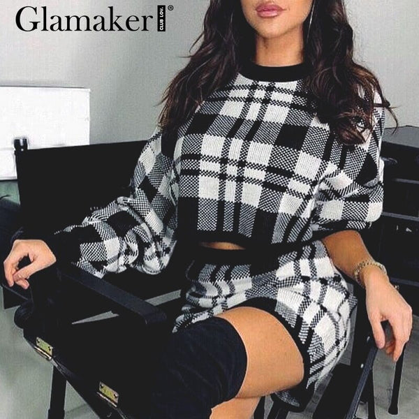 Glamaker Knitted plaid two piece suit dress Women spring summer elegant mini short dress Party club long sleeve bodycon dress