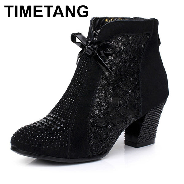 TIMETANG Thick Mid Heel Nubuck Leather Lace Floral Bowknot Pearl Rivets Summer Women Fashion Sandals Ankle Boots Plus Size 32-42