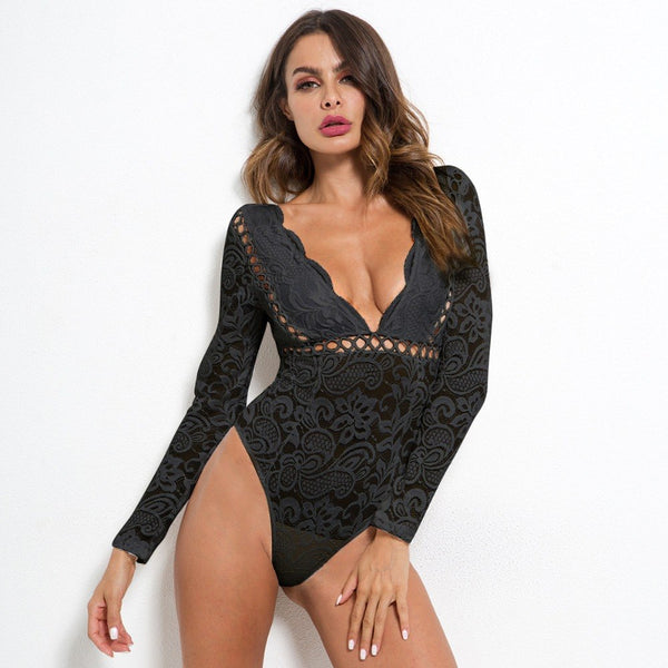 Cryptographic Hot mesh lace bodysuit women body suit hollow out sexy long sleeve jumpsuit romper 2018 deep v bodysuits catsuit