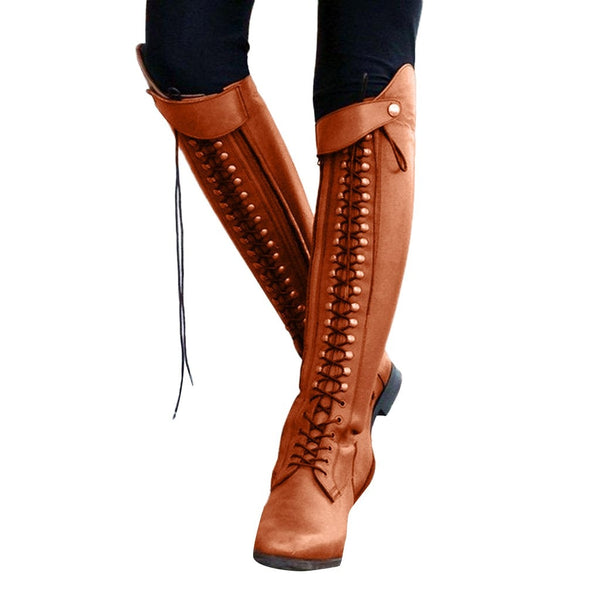 YOUYEDIAN Women Lace Up Shoes Gladiator Long Tube Boots Knee High  Boots  Fashion Vintage Women Ankle Boots #Y40