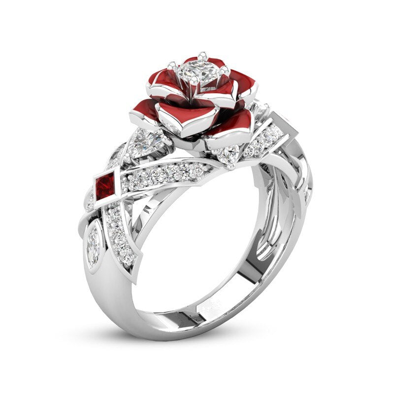 Two Tone Promise Rose Ring With White And Red Stone.