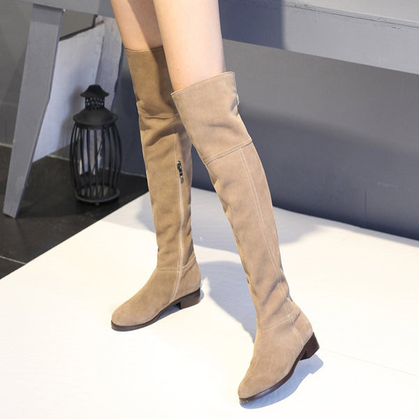 Women Long Boots Handmade Block Heel Winter Female Plush Shoes