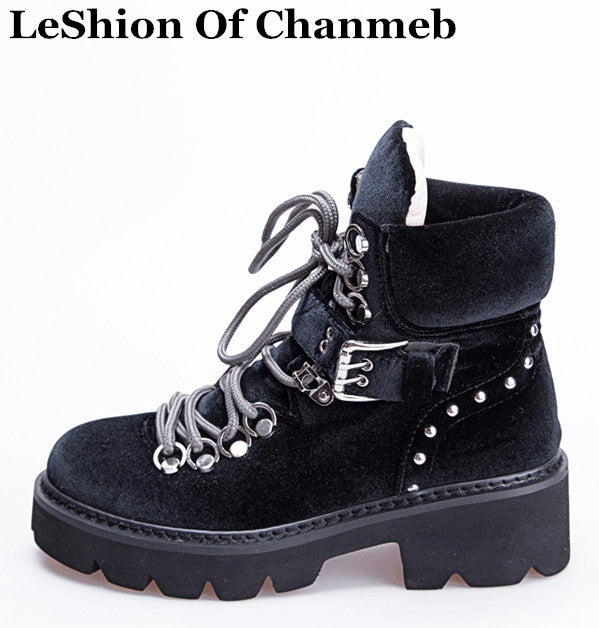 boots for women velvet shoes warm winter lace up buckled street motorcycle boots