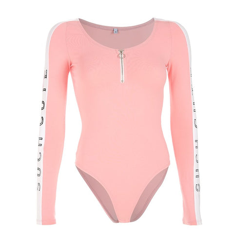 Rapwriter Casual Front Zipper O-Neck Sexy Pink Bodysuits Women 2019 Spring Letter Long Sleeve Stretch Open Stretch Bodysuit