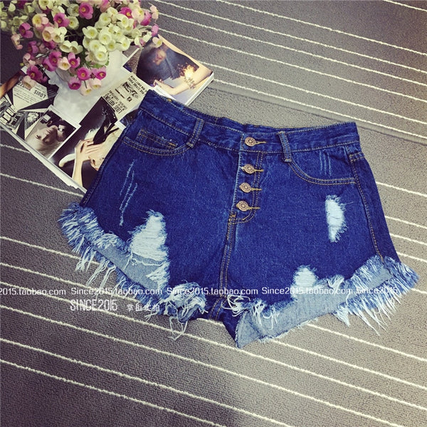 blue high waist denim shorts women worn loose burr hole jeans shorts