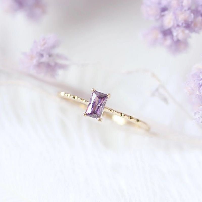 Purple Crystal Light Yellow Gold Engagement Ring.