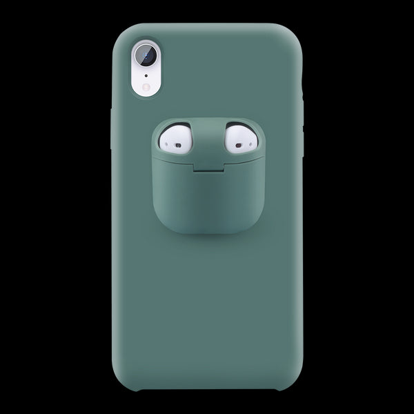 2 in 1 Liquid Silicone Phone Case For iPhone 11 Pro Max XR X XS Max Protective Case Cover For AirPods.