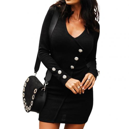 Solid Color Diagonal Buttons Cuff Bodycon Knitted Dress Women.