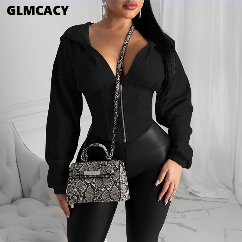 Long Sleeve Zip Hoodies Casual Solid Sweatshirt Slim Corset.