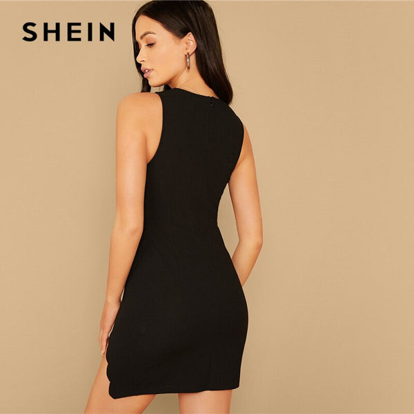 SHEIN Black Scallop Trim Slit Thigh Fitted Dress Women Summer Autumn Slim Sexy Night Out Sleeveless Pencil Mini Party Dresses