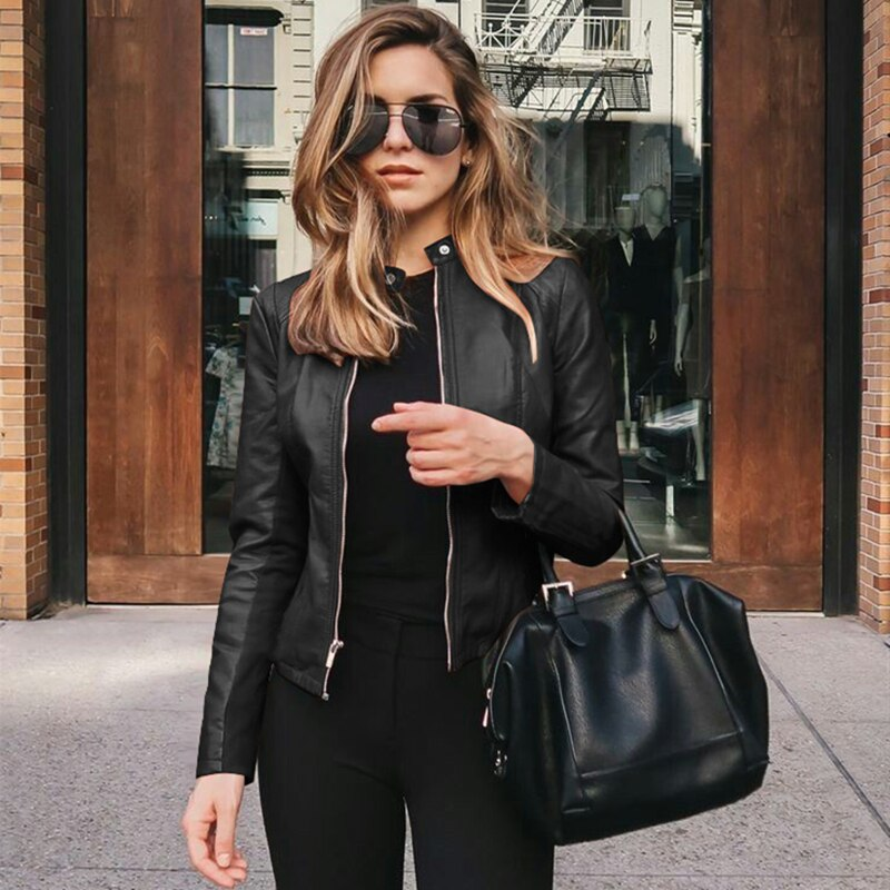 Faux Leather PU Jacket Coat Blazer Female Long Sleeve.