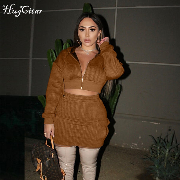 Hugcitar 2020 Long Sleeve Solid Zip Up Hooded Top Pocket Skirt 2 Pieces Set Autumn Winter Women  Streetwear Casual Tracksuit