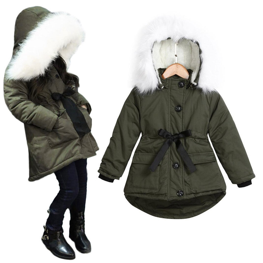 Long Thick Warm Jacket Parkas Windbreaker For Girls.