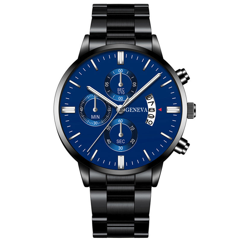 Men Stainless Steel Luxury Calendar Quartz Wrist Watches.