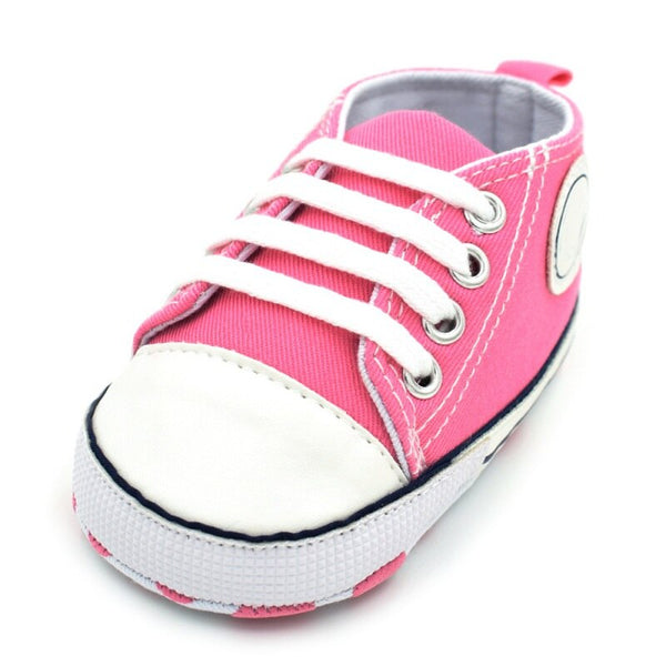 Canvas Shoes Lace-Up Cotton Fabric Sole Sneakers First Walkers for 0-18 Month