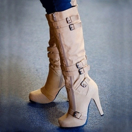 High Heel Autumn Mid Calf Boots Female Zip PU Leather Buckle.
