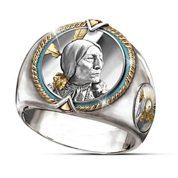 Hip Hop Style Indian Chief Two-tone Gold Ring Men Western National Cowboy Style Pirate Eagle Male Ring