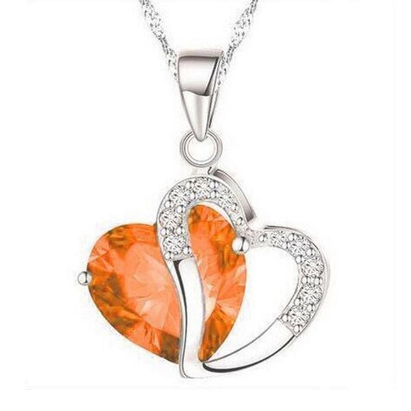 Luxury Women Heart Crystal Pendant Necklace Rhinestone Silver Chain Pendant Necklace Jewelry Gift For Women Girl Collares 2020