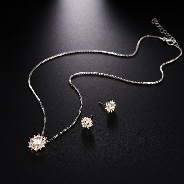 3 Pcs/set Snowflake Antique Necklace Earrings Christmas Snowflake Jewelry Gift Necklace and Earing Set