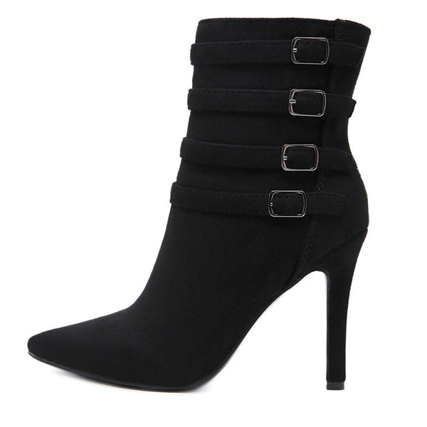 New European and American pointed fashion pointed mid boots women short.