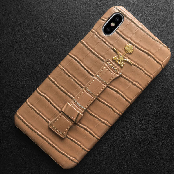 Saudi Arabia National Emblem Leather PU Wrist Strap Case For iphone X 7 8 6 6S Plus XS Max XR Skin Pattern Back Hard Covers