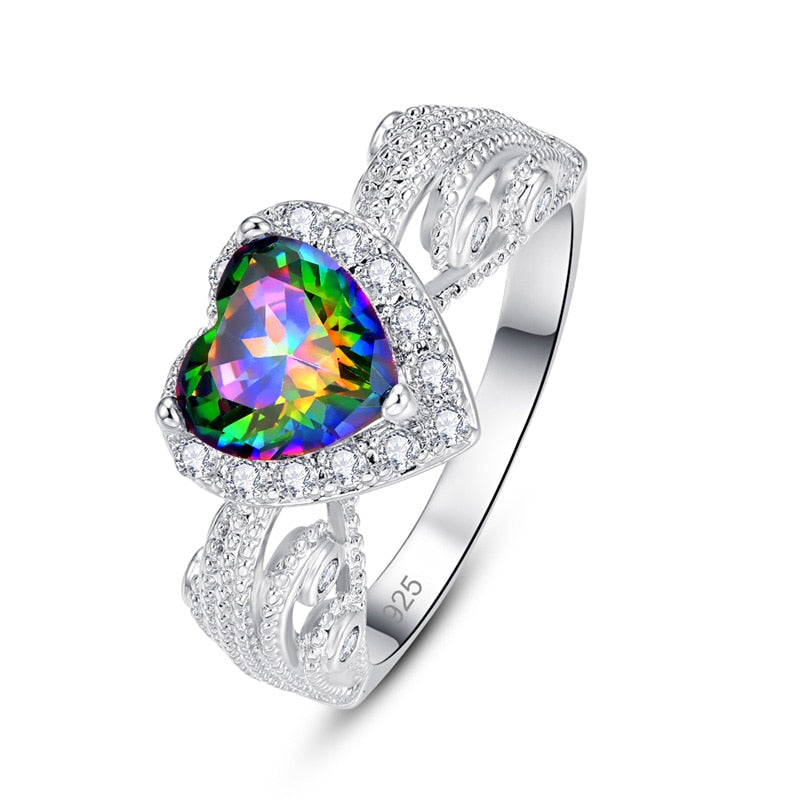 Heart Love Romantic Multicolor Pink Zircon Silver Ring.