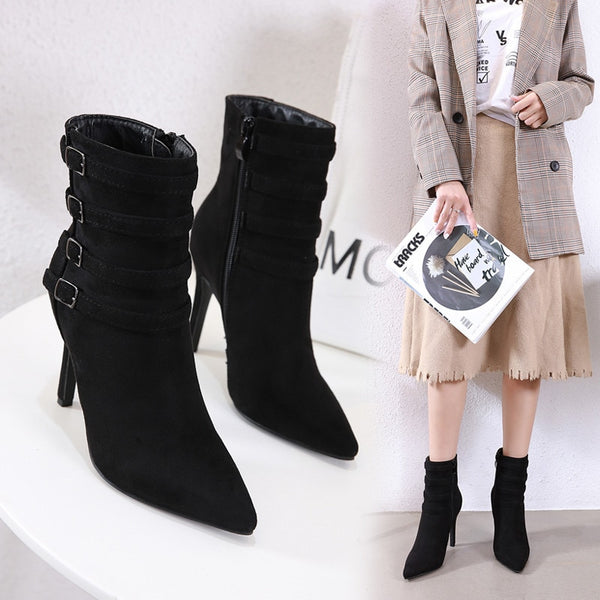 HABUCKN 2019 new European and American pointed fashion fashionable wild pointed mid boots women short boots