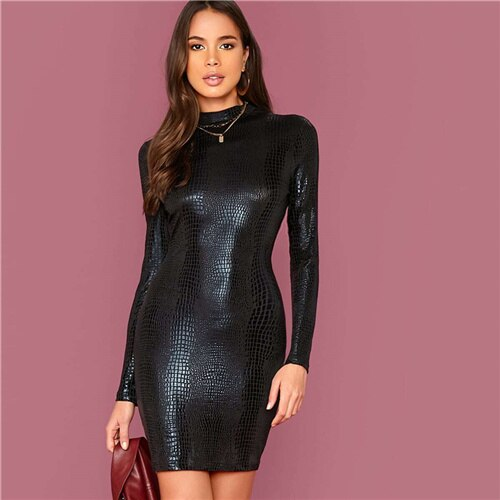 Black Mock Neck Crocodile Embossed Glamorous Solid Long Sleeve Form Fitted Short Dresses.