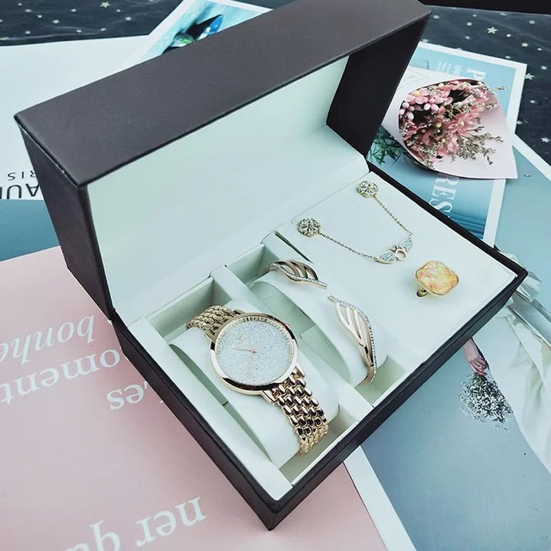 5Pcs Bracelet, Necklace, Earrings Ring Set Female Zircon Jewelry Sets & Quartz Watch Lady's Gift.