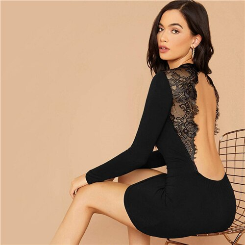 Solid Contrast Lace Insert Backless Sexy Long Sleeve Form Fitted Stretchy Mini Dresses.
