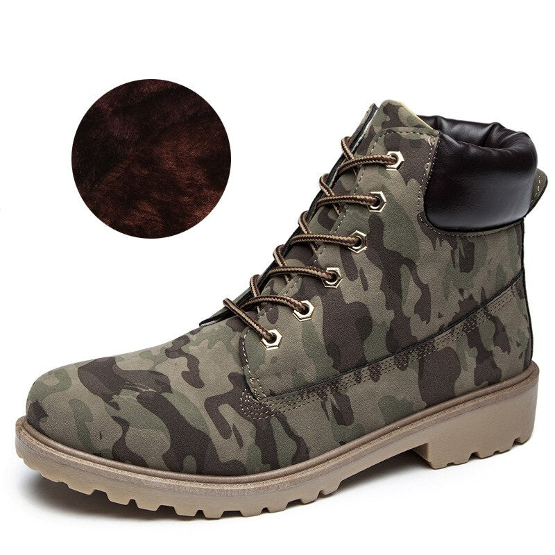 Flat Heel Boots Fashion Brand Woman Ankle Camouflage.
