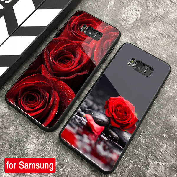 For Samsung Galaxy S8 S9 S10 Plus Fashion Rose Patterned Tempered Glass Phone Case Cover For Samsung Galaxy Note 8 9 S10e Fundas