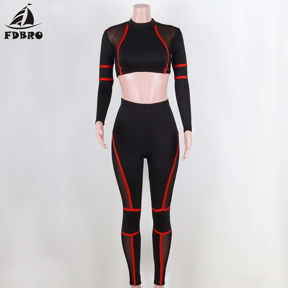 2 Piece Sets Sport Suit Red Stripped Long Sleeve High Waist.