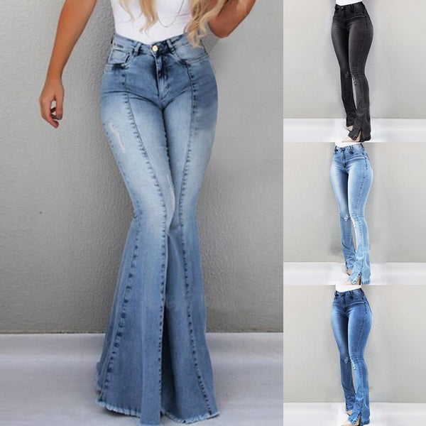 2019 Women High Waist Flare Jeans Skinny Denim Pants Sexy Push Up Trousers Stretch  Bottom Jean Female Casual Jeans