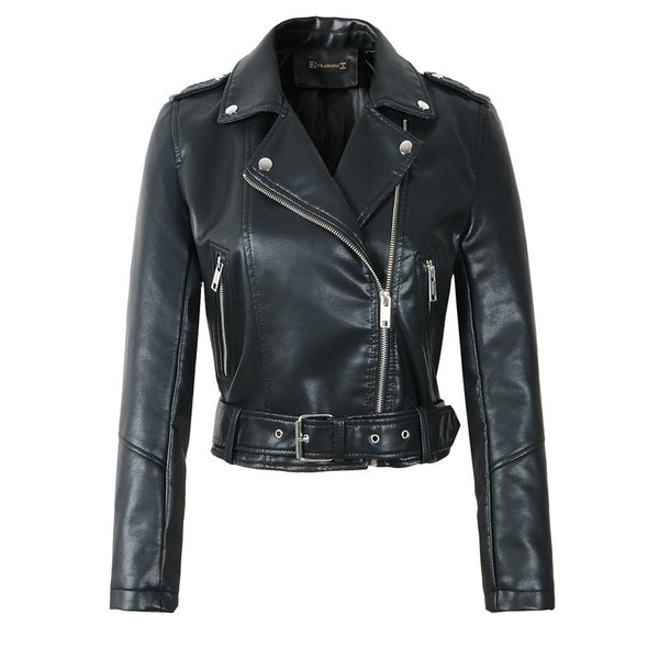 Faux Soft Leather Jackets Lady with Zippers Motorcycle Street Coats with Belt.