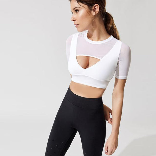 Designer Short Sleeve Mesh Push Up Workout Top